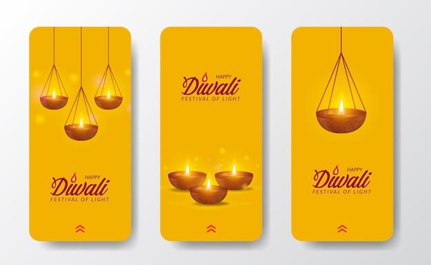 Design per le vacanze del festival di diwali con lo stile del taglio della carta delle storie sui social media della luce della lampada a olio indiana