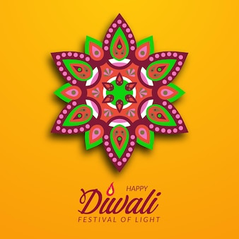 Diwali festival holiday design con carta tagliata stile indiano rangoli mandala decorazione floreale con sfondo giallo