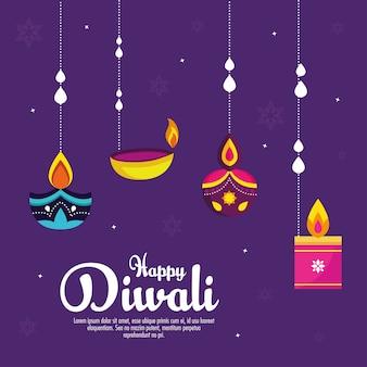 Festa di festival diwali con candele appese su sfondo viola.