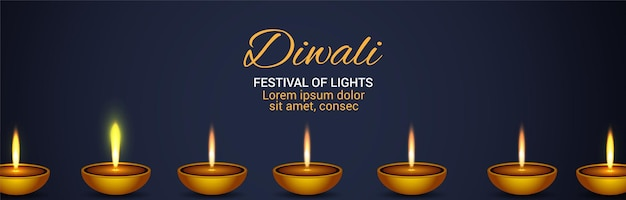 Diwali festival of light celebrazione banner con diya