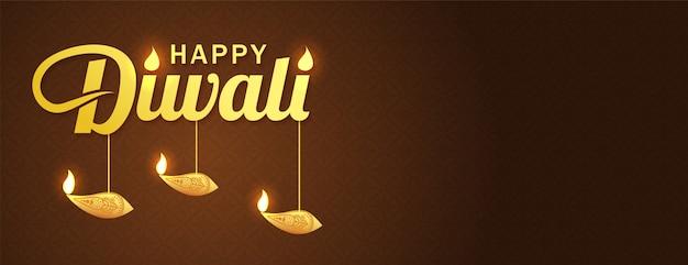 Banner di diwali festivall con elementi di lampada a olio diya su sfondo marrone.