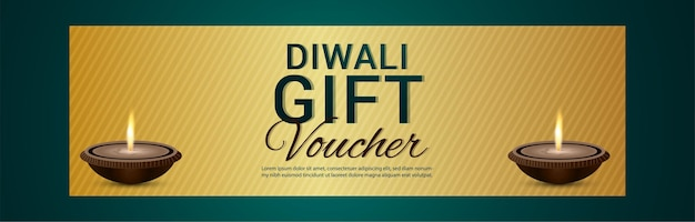 Banner di celebrazione del vocher del regalo di diwali con diya creativo