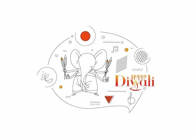 Biglietto di auguri per il festival indù di diwali, illustrazione vettoriale di linea disegnata a mano.