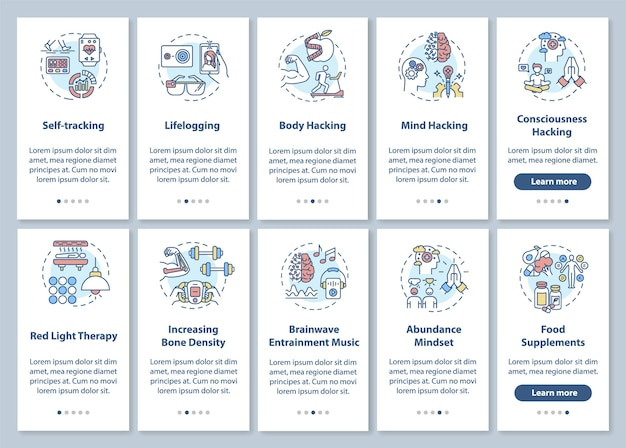 Schermata della pagina dell'app mobile di biologia fai-da-te con set di concetti. gli elementi e le tecniche di biohacking seguono le istruzioni grafiche in cinque passaggi. modello di interfaccia utente con illustrazioni a colori rgb
