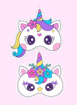 Modello di maschera stampabile per maschera unicorno fai da te artigianale per costume completo e festa di compleanno unicorno
