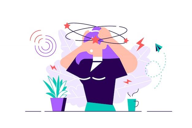 Illustrazione vettoriale di vertigini concetto di persona sensazione di testa vertiginosa piatta minuscola. moto di confusione