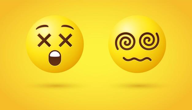 Dizzy emoji cross eyes face negli occhi di rotazione 3d