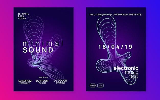 Evento dj. insieme moderno dell'invito della discoteca. forma e linea del gradiente dinamico. volantino al neon per eventi dj. festa in trance techno