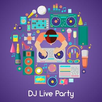 Dj music party icons set con strumenti musicali