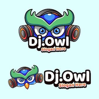 Dj owl mascotte illustrazione icona stile moderno
