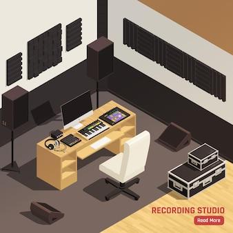Composizione isometrica interna dello studio di registrazione del dj con l'illustrazione dell'attrezzatura delle cuffie di trattamento acustico dello scrittorio di miscelazione del regolatore dei monitor