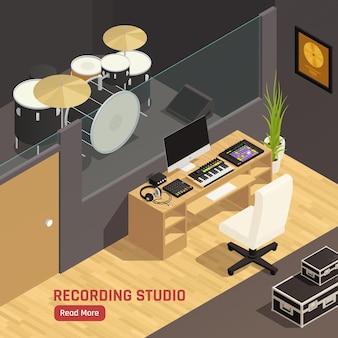 Illustrazione isometrica della composizione nella pagina web del controller del mixer del pc dell'attrezzatura acustica degli strumenti musicali di percussione dello studio di registrazione del dj