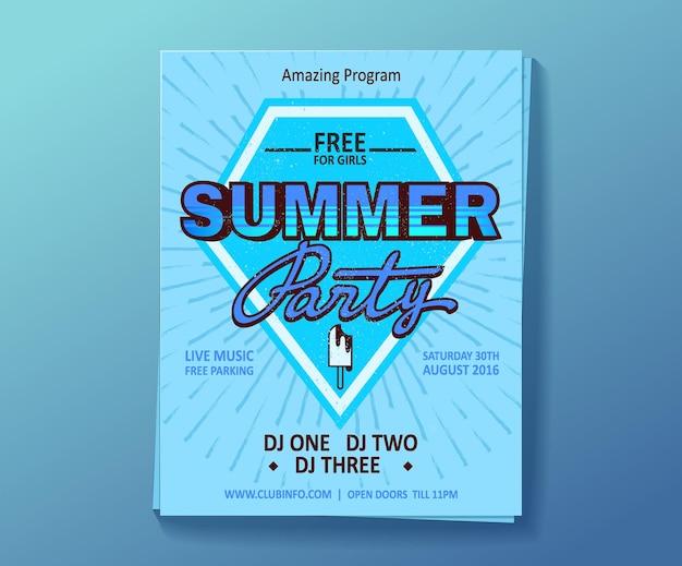 Festa estiva di dj, poster di spettacolo di night club.