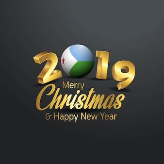 Djibouti flag 2019 tipografia merry christmas