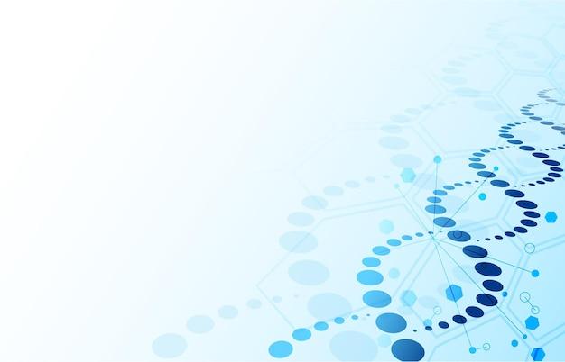 Sfondo del dna. biotecnologia elica astratta blu e struttura molecolare esagonale