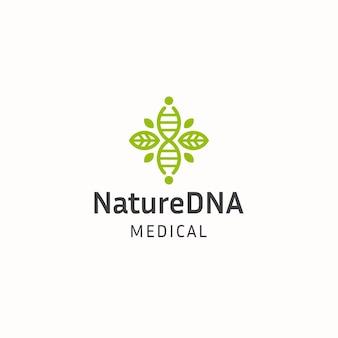 Elica delle cellule del dna con il modello di progettazione dell'icona del logo della natura della foglia verde vettore piatto