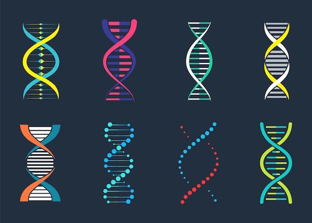 Dna, segno genetico, elementi e raccolta di icone. pittogramma del simbolo del dna isolato. vettore di dna.