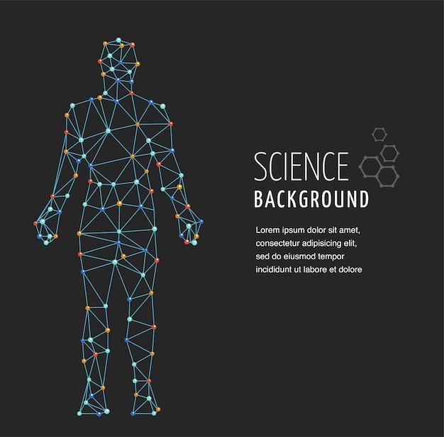 Dna, simbolo genetico dell'uomo con struttura della molecola del dna
