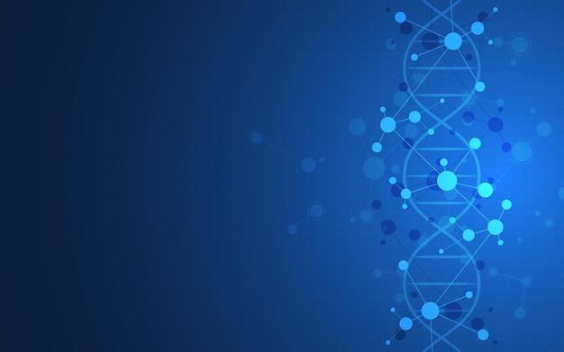 Elica del dna e strutture molecolari medicina scientifica e concetto di tecnologia