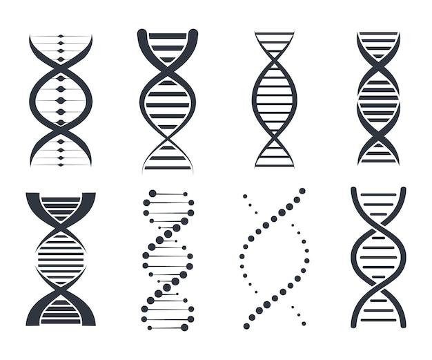 Icone del dna impostate. segno genetico, elementi e raccolta di icone. pittogramma del simbolo del dna isolato su sfondo bianco
