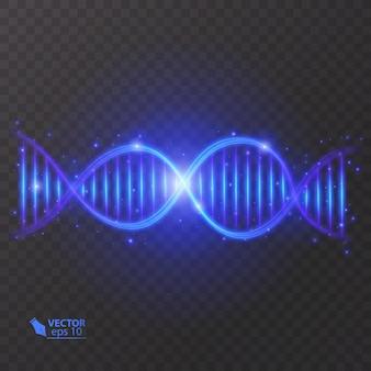 Illustrazione della struttura della molecola del dna. effetto luce, su sfondo trasparente