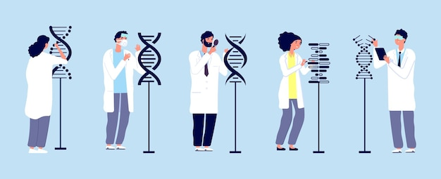 Ricerca sul dna. scienziati che studiano le molecole.