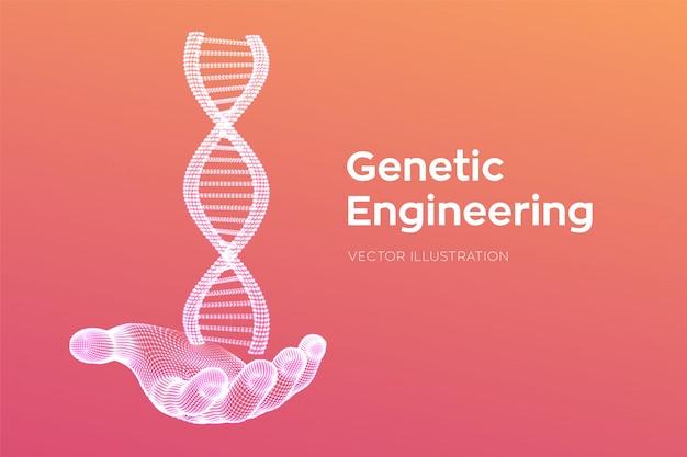 Sequenza di dna in mano. maglia metallica della struttura delle molecole di wireframe dna. modello modificabile del codice dna. scienze e tecnologia . illustrazione.