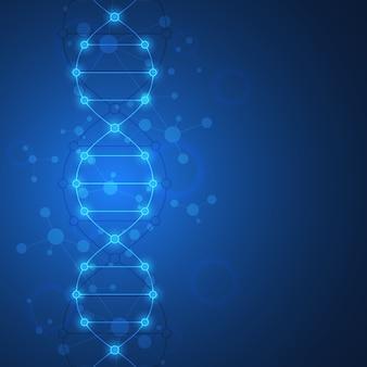 Sfondo del filamento di dna e ingegneria genetica. tecnologia medica e concetto di scienza.