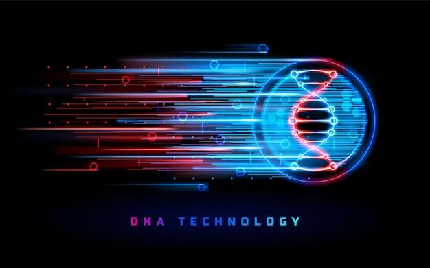 Fondo al neon della medicina della genetica della tecnologia del dna