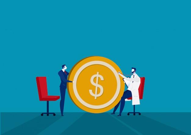 Check up finanziario di docter e business. illustrazione di affari.