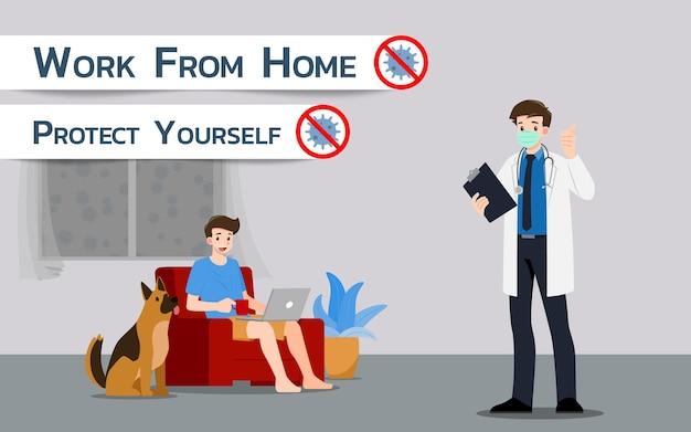 Il medico consiglia che lavorare a casa può evitare l'infezione da virus corona o covid-19.