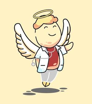 Doctor angel boy capelli biondi illustrazione del fumetto di vettore capelli gialli doctor