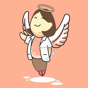 Doctor angel girl pink vector illustration