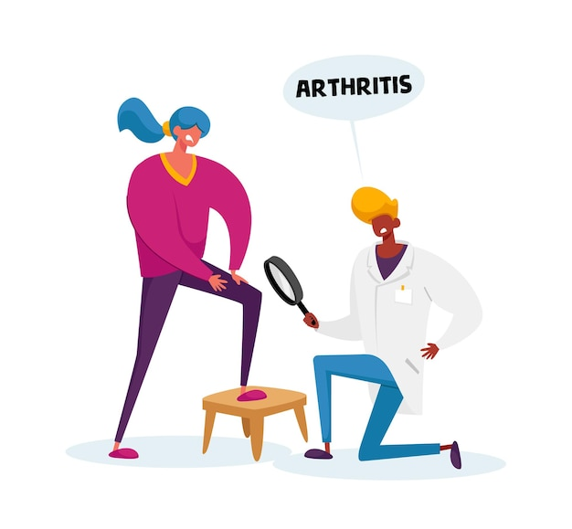 Carattere di medico artrologo con lente d'ingrandimento orologio sul ginocchio artrite paziente