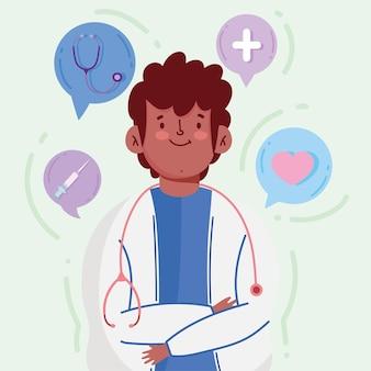 Medico fumetto ritratto cappotto stetoscopio siringa icone medicina illustrazione