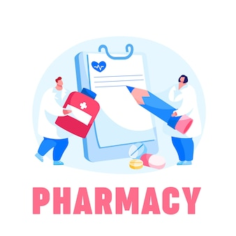 Il personaggio del dottore porta una pillola di medicina enorme per la prevenzione della malattia