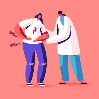 Carattere del medico che cerca di aiutare la donna malata che tocca lo stomaco doloroso che soffre di cause di mal di stomaco della malattia infiammatoria dell'appendicite.