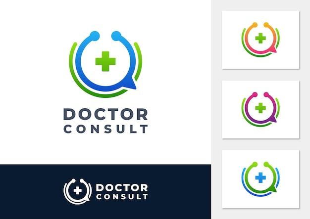 Il medico consulta il vettore del logo sfumato