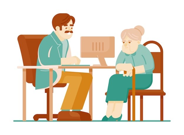 Consulto medico. terapista medico parlando con paziente donna anziana seduto al tavolo isolato su sfondo bianco. consultazione e controllo di diagnosi della medicina per l'illustrazione degli anziani