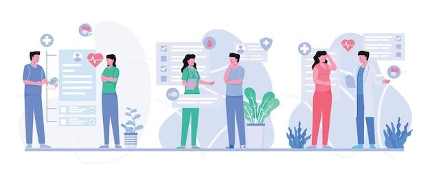 Consultazione del medico al paziente in ospedale nel personaggio dei cartoni animati, illustrazione piatta