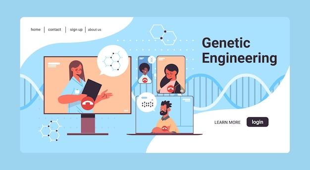 Medico che consulta i pazienti durante la videochiamata test del dna diagnosi di ingegneria genetica consultazione online