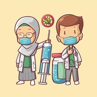 Medico e vaccino contro il virus della corona illustrazione di arte del fumetto della siringa per iniezione del virus della corona