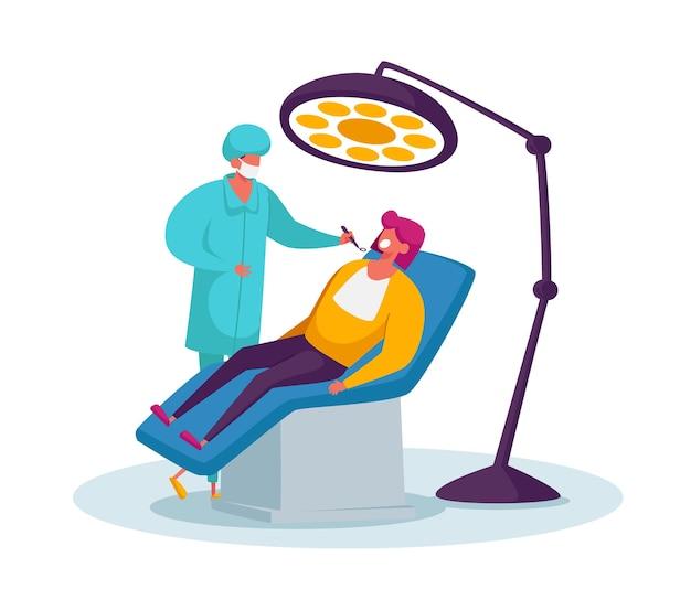 Carattere del dentista del dottore che conduce il controllo medico sanitario