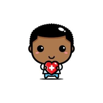 Disegno del medico che abbraccia il cuore dell'amore