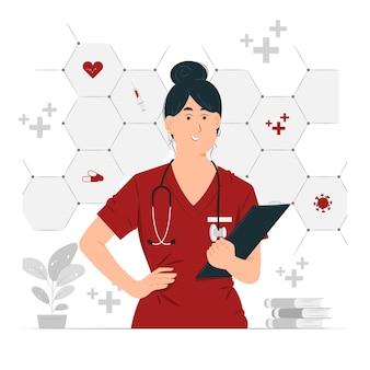 Medico durante l'esame tenendo il concetto di appunti illustrazione