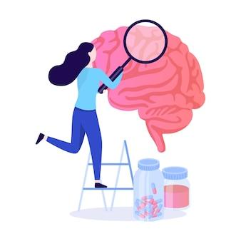 Il dottore esamina il cervello enorme. idea di trattamento medico