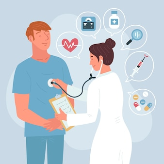 Medico che esamina un paziente presso la clinica