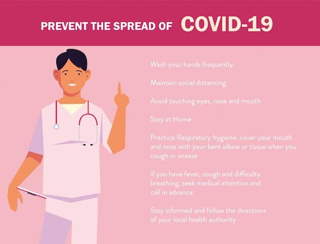 Il medico spiega all'infografica come prevenire la diffusione della covide 19