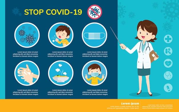 Il dottore spiega l'infografica per il coronavirus di wuhan