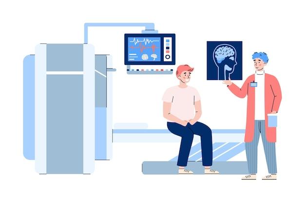 Medico che spiega ai risultati dei pazienti della risonanza magnetica